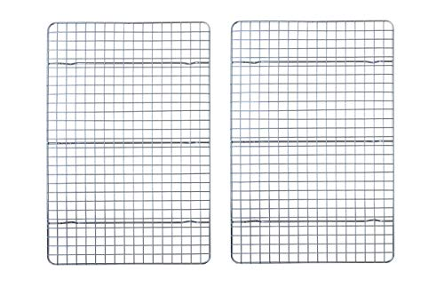 Checkered Chef Cooling Racks For Baking - 10 x 15 Inches - Stainless Steel Cooling Rack/Baking Rack Set of 2 - Oven Safe Wire Racks Fit Jelly Roll Pan - Small Grid Perfect To Cool and Bake
