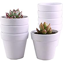 YIKUSH Terra Cotta Pots 3.1 Inch 10 Pack Clay Pot Ceramic Planter Flower Container Great for Plants,White
