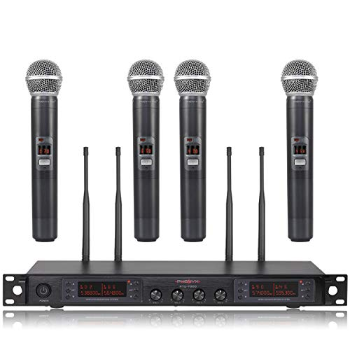 Wireless Microphone System Phenyx Pro Quad Channel Cordless Mic Set With Metal Handheld Mics 4x200 Channels Auto Scan Long Distance 328ft Ideal For Dj Church Outdoor Events Ptu 7000a