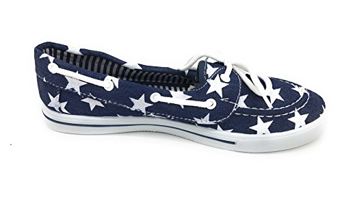 Lace Toe Round Tennis Denim Slip EASY21 up Sneaker Comfy Shoe Boat Canvas Blue Flat Star On Berry qCwtPAp
