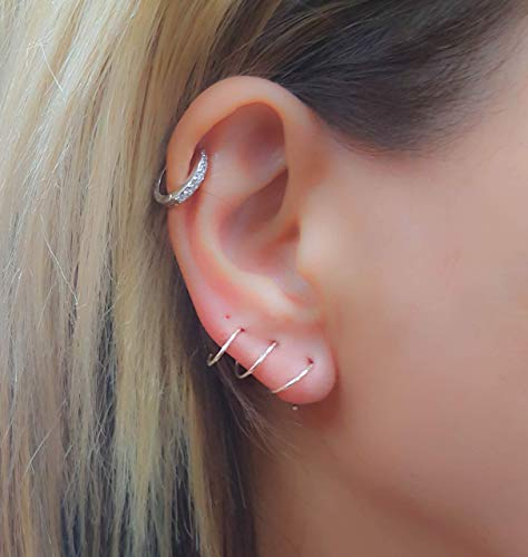 (Triple piercing earring Hoop Three hole Spiral Silver climber)
