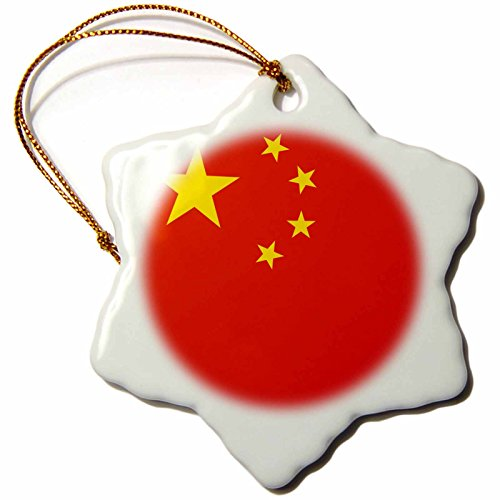 Snowflake Ornament China (3dRose orn_159806_1 Flag of The Peoples Republic of China Chinese Red with Golden Yellow Stars Porcelain Snowflake Ornament, 3-Inch)