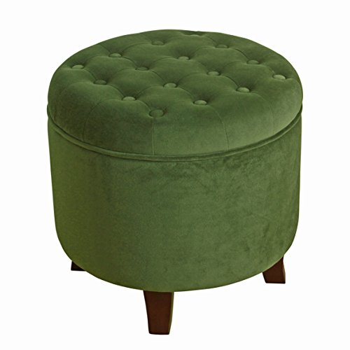 HomePop K6171-B228 Velvet Button Tufted Round Storage Ottoman with Removable Lid, Green