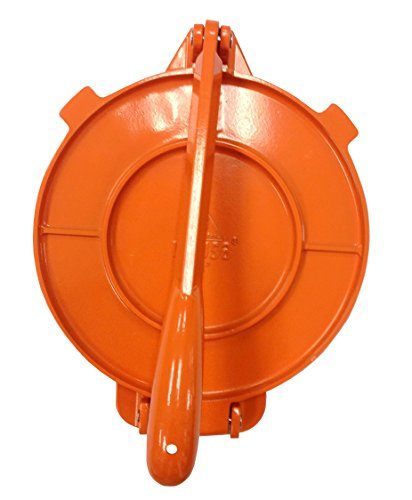 IMUSA USA MEXI-86016 Aluminum Tortilla Press 8-Inch, Orange Cast Aluminum Insert
