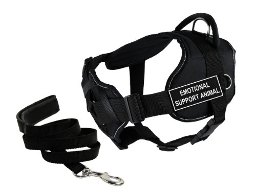 Dean & Tyler's DT Fun Chest Support ''EMOTIONAL SUPPORT ANIMAL'' Harness with Reflective Trim, Small, and 6 ft Padded Puppy Leash. by Dean & Tyler