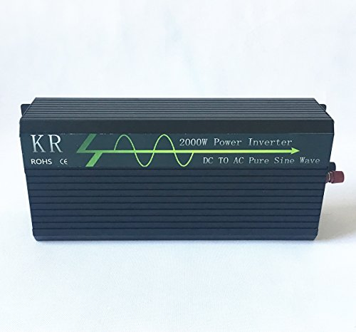 KRXNY Full 2000W Peak 4000W Off Grid Pure Sine Wave 12V DC to 120V AC 60HZ Power Inverter Converter for Home Car Use with LCD Display USB Port by KRXNY (Image #3)