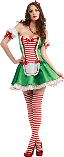 - Secret Wishes Christmas Collection Peppermint Cutie Costume, Green/Red/White, Small