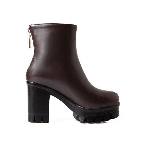 AllhqFashion Womens Solid PU High-Heels Zipper Round Closed Toe Boots Brown qECM8