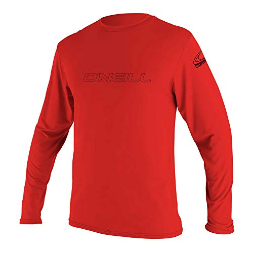 O'Neill  Men's Basic Skins UPF 50+ Long Sleeve Sun Shirt, Red, Medium