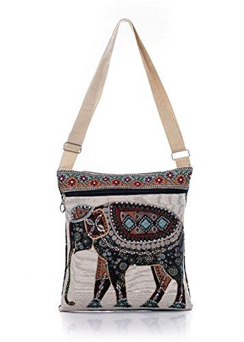 Elephant Purse - Nawoshow Bohemian Owl / Elephant Embroidered Pattern Shoulder Bag Crossbody Bag Messenger Shopping Bag