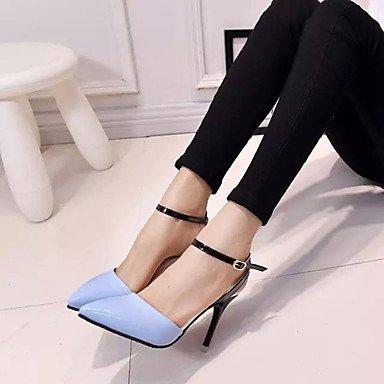 LFNLYX Tacones mujer primavera otoño comodidad PU Stiletto talón exterior negro Blanco Rosa Azul White
