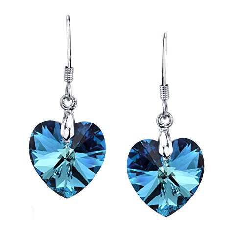 LUVAMI Swarovski Crystal Blue Heart White Gold Plated Drop Dangle French Hook (White Gold Plated Earring)