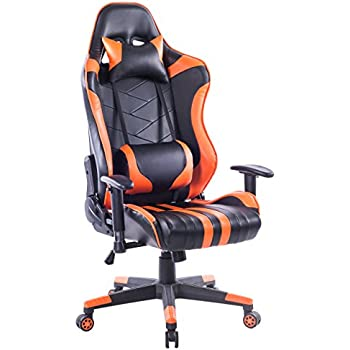 durable pvc home office chair. Killbee Large Size PVC Ergonomic Reclining Racing Chair Executive Office With Headrest And Lumbar Support (Orange) Durable Pvc Home