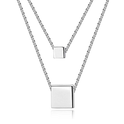 Faenlior Sterling Silver Necklace Minimalism Simple Chain Pendant Necklace (Sterling Silver Square) (Pendant Square)