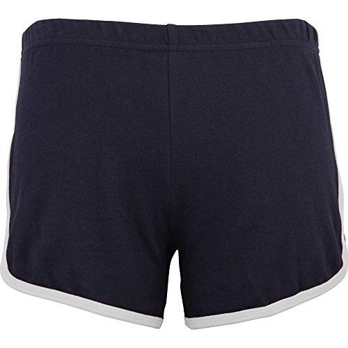 American Apparel Womens/Ladies Interlock 100% Cotton Running Shorts Navy / White