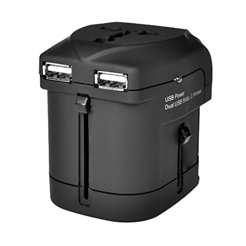 IKOPO Travel Adapter Universal World TRAVEL ADAPTER+WALL CHARGER with Dual 2.1A USB Port Charger Covers 150+ Countries Europe, Canada,Mexico,Britain and more Worldwide Travel Adapter Converter/Black