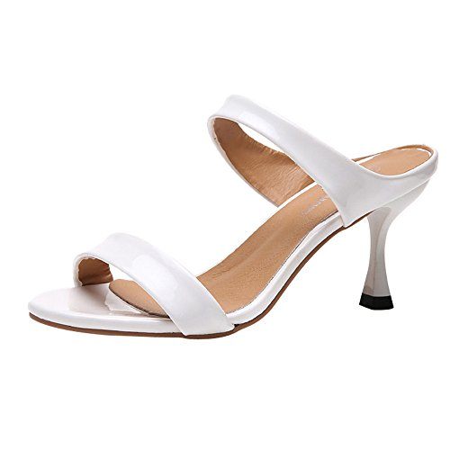 - New in Respctful✿Women's Open Toe Casual Slide Sandals Double Straps Chunky Mules High Heels White