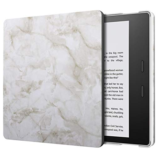 MoKo Case Fits All-New Kindle Oasis (9th and 10th Generation ONLY, 2017 and 2019 Release), Slim Fit Premium PU Leather Protective Cover with Auto Wake/Sleep - Light Gray Marble