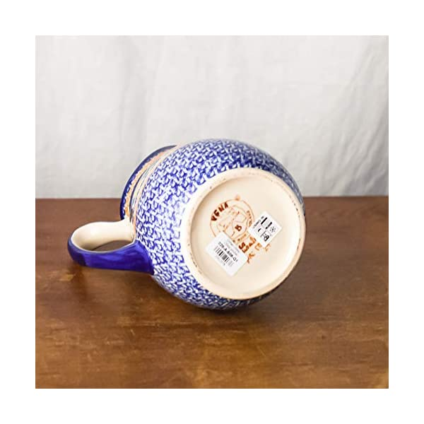 Polish Pottery, Handpainted and Handcrafted Water or Juice Jug 1.7L ― Blue Flowers Artistic Pattern (A506)