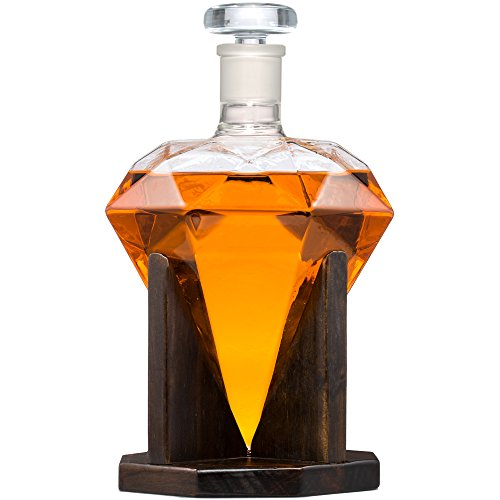 (Diamond Shaped Whiskey Decanter - 33 Oz Scotch Decanter - Artfully Crafted Decanter For Wine, Brandy, Bourbon, Tequila, Liquor, Juice, Water- Glass Decanter With Ground Glass Stopper By Ultimate Touch)
