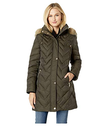 Kenneth Cole New York Women's Chevron Multi Quilt 3/4 Down Jacket w/Faux Fur Hood Olive X-Large (Kenneth Keep Cole York New)