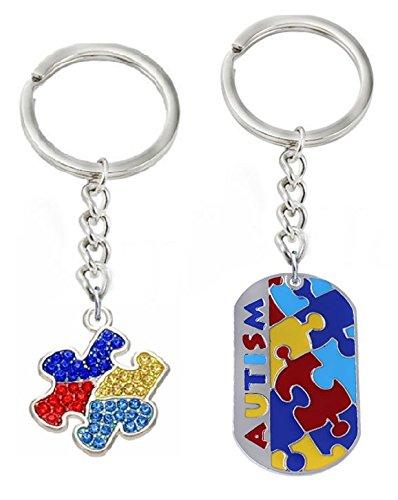 Autism Awareness Puzzle Piece Key Chain, 2 Pack (Set 3)