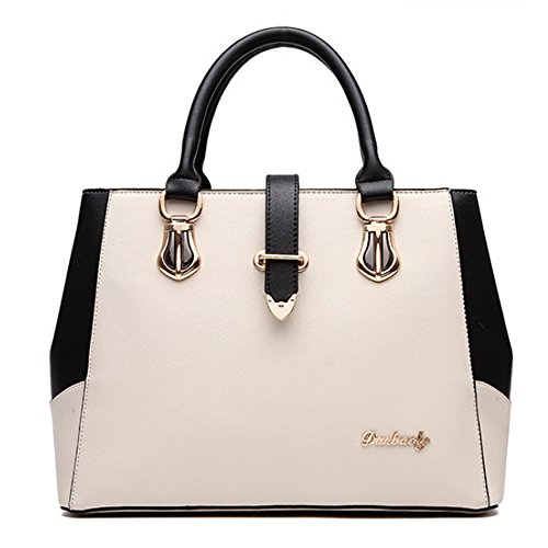 Women Handbag,Women Bag, Shoulder Bag KINGH Zip Closure Tote Vintage Messager Bag PU Leather 115 White