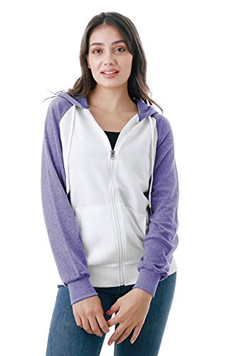- GIVON Womens Comfortable Long Sleeve Lightweight Raglan Zip-up Hoodie with Kanga Pocket/DCF018-LAVENDER-S