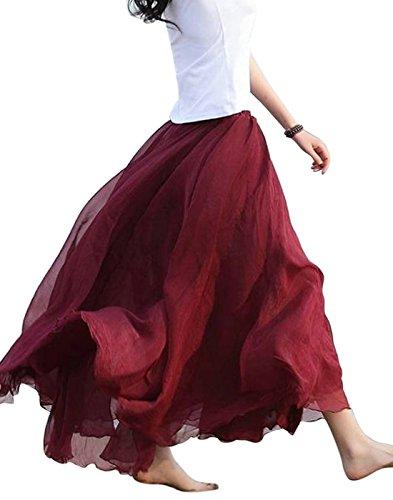 Aivtalk Women Long Maxi Skirt Flowing Bohemia Elastic Waist Hippie Skirts Dress Red One Size Hippie Silk Skirt