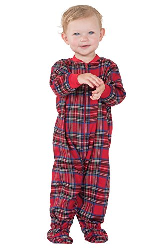 PajamaGram Stewart Plaid Pajamas with Red Top and Plaid Pants, Red, 18 Months by PajamaGram