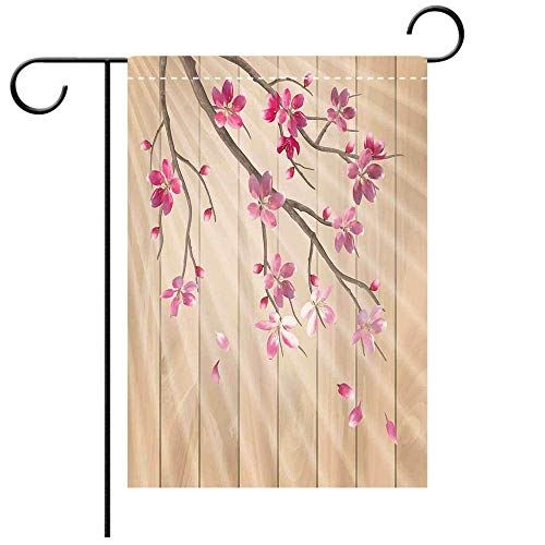 Wlioohhgs Double Sided Premium Garden Flag House Decor Spring Cherry Twig Falling Petals Sun Beams on Wooden Wall Background Illustration Pink Camel Best for Party Yard and Home Outdoor Decor