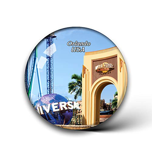 Jollin USA America Universal Studios Florida Orlando Fridge Magnets Clear Crystal Glass for Refrigerator City Travel Souvenirs Funny Whiteboard Home Decorative Sticker Collection Gifts Round Magnet (Furniture Orlando City)