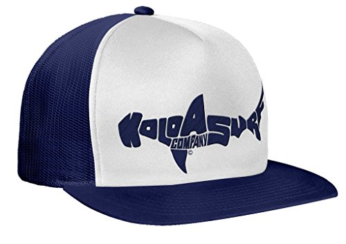 (Koloa Shark(tm) Mesh Back Trucker Hat in Navy/White Navy Logo)