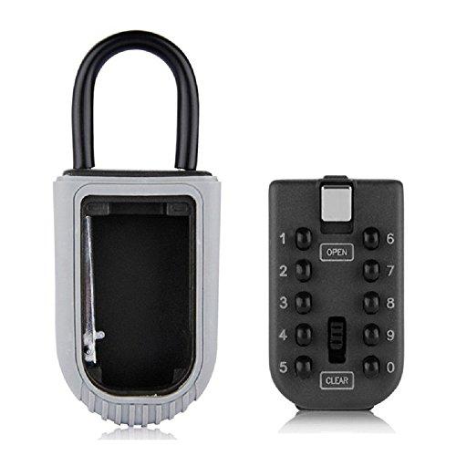 NUZAMAS Realtor Key Lock Box Safe Lockbox 10-Digit Push Button Combination Safe Vault - Portable Outdoor Stor a Key - Door Handle or Fence Mount by NUZAMAS