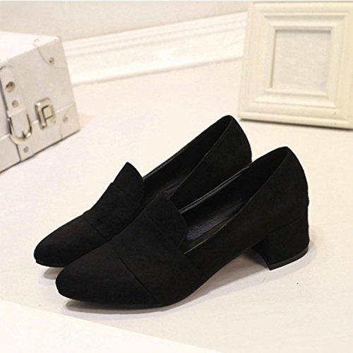 Inkach Chaussures Plates Des Femmes | Bout Pointu Chaussures En Daim | Ladise Casual Bas Talon Chaussures Peu Profondes Noir