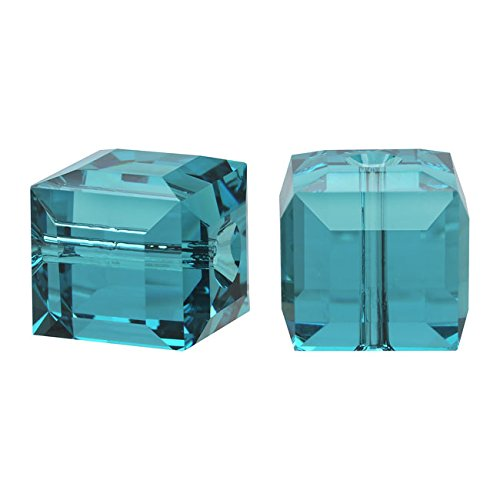 (Swarovski Crystal, 5601 Cube Beads 8mm, 4 Pieces, Indicolite )