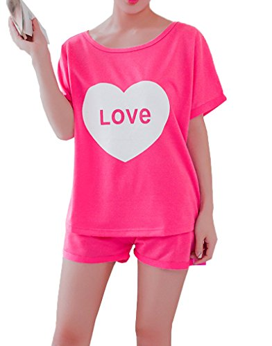 MyFav Pajama Set Big Girls Comfy PJS Lovely Heart Shape Printed Sleepwear Nighty