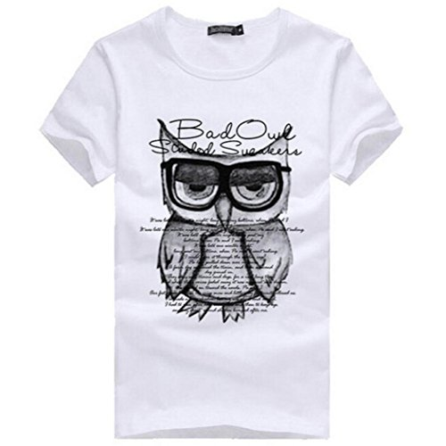 FUNIC Men T-Shirts, Fashion Men Boy Printing Owl Tees Shirt Cotton T Shirt Clothes (Medium, White)