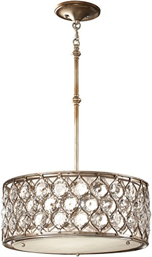 (Feiss F2568/3BUS Lucia Drum Pendant Lighting, Satin Nickel, 3-Light (19