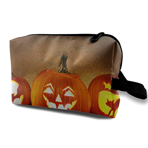 Jack O Lantern Carving Pumpkin Halloween Scary Ghost Multi-function Travel Makeup Toiletry Coin Bag Case