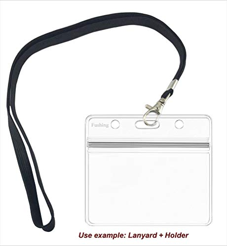 100 Pcs Clear Plastic Horizontal Name Tag Badge ID Card Holders by Fushing (Image #3)