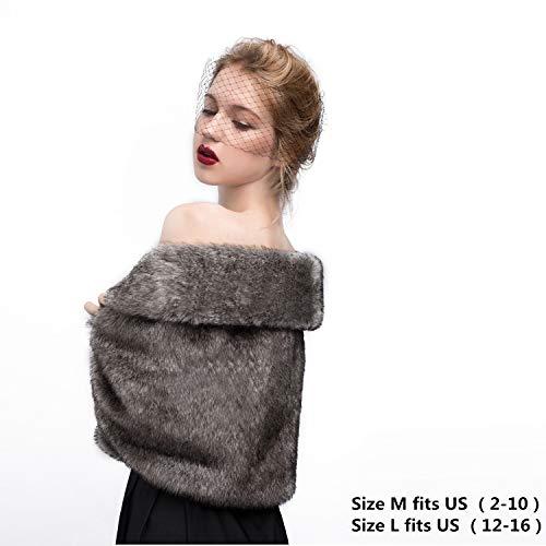 Faux Fur Shawl Wrap Stole Shrug Winter Bridal Wedding Cover Up Size L M