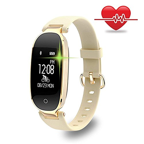 Vacio Fitness Tracker, Bluetooth Waterproof Smart Watch with Heart Rate Monitor Fitness Tracker Smart Band for Android IOS for Men Women(Gold) by Vacio