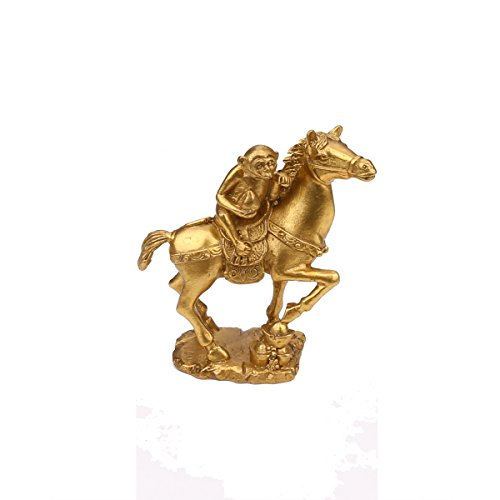Chinese Feng Shui Brass Horse Monkey and Set Statue the Golden color Monkey Riding on Horse and mmediate Promotion:Monkey Riding on Horse (Monkey Riding on Horse) -