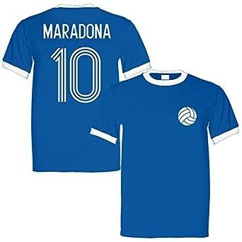 7c94add43 Sporting Empire Diego Maradona 10 Argentina Legend Ringer Retro T-Shirt  Royal White