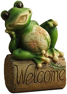 SDBRKYH Jardín Cartel de Bienvenida, Bienvenido Rana Estatua Estatuilla Modelo de Arte Retro Terraza Inicio Exterior Retro Artesanías: Amazon.es: Hogar