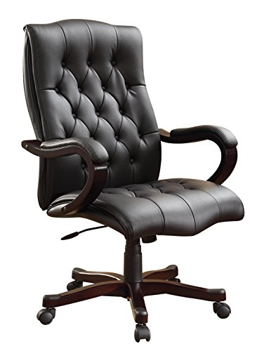 Office Star Dixon Executive Chair with Thick Padded Black Bonded Leather Seat and Back