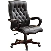 Inspired by Bassett Dixon Executive Chair with Thick Padded Black Bonded Leather Seat and Back