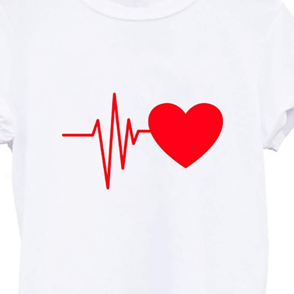 LODDD Fashion Womens T-Shirt Loose Short-Sleeved Heart Print Casual Wild O-Neck Top