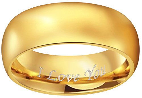 CROWNAL 4mm 6mm 8mm Tungsten Wedding Couple Bands Rings Men Women 24K Gold Plated Plain Dome Polished Engraved I Love You Size 4 To 17 (8mm,11) by CROWNAL (Image #1)'